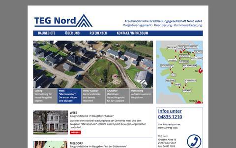 Screenshot of Home Page teg-nord.de - Baugrundstücke in Schleswig-Holstein . TEG Nord - captured March 31, 2017