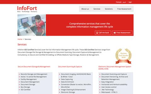 Screenshot of Services Page infofort.com - Document Management Services & Solutions | InfoFort - captured Oct. 15, 2017