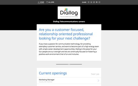 Screenshot of Jobs Page indeedjobs.com - Learn everything about careers at Diallog Telecommunications - captured Jan. 31, 2018