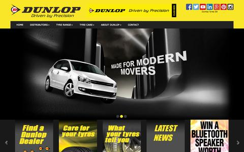 Screenshot of Home Page dunloptyres.co.za - Home - captured Oct. 6, 2014