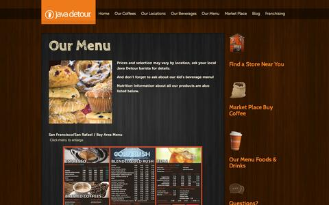 Screenshot of Menu Page javadetour.com - Our Menu - captured Sept. 30, 2014