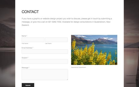 Screenshot of Contact Page clairenicholsdesign.co.nz - CONTACT — Graphic and Website Design, Queenstown, New Zealand - captured Sept. 30, 2014
