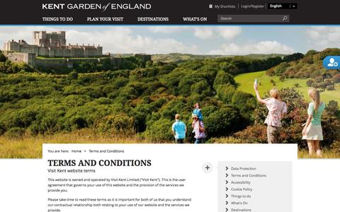 Screenshot of Terms Page visitkent.co.uk - Terms and Conditions - captured Sept. 23, 2014
