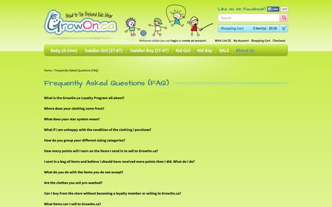 Screenshot of FAQ Page growon.ca - Frequently Asked Questions (FAQ) - captured Oct. 3, 2014