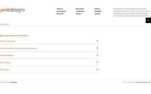Screenshot of Testimonials Page jonkdesign.co.uk - Testimonials | jonkdesign - captured Sept. 30, 2014