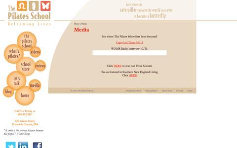 Screenshot of Press Page thepilatesschool.com - The Pilates School: Media - captured Oct. 3, 2014