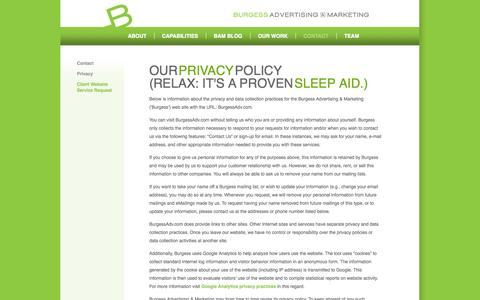 Screenshot of Privacy Page burgessadv.com - Privacy Policy - captured Oct. 5, 2014