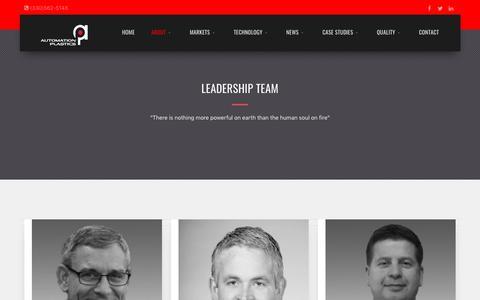 Screenshot of Team Page automationplastics.com - Automation Plastics // Leadership Team - captured Nov. 13, 2018