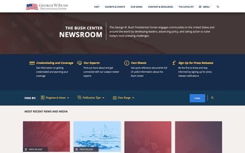 Screenshot of Press Page bushcenter.org - The Bush Center Newsroom - captured Sept. 23, 2018