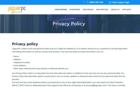 Screenshot of Privacy Page jaguarpc.com - Privacy Policy for Jaguar Pro Cloud - Cloud Hosting Privacy - Jaguarpc - captured Oct. 8, 2018