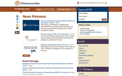 Screenshot of Press Page claconnect.com - Media Contacts and News Releases (PR): CliftonLarsonAllen (CLA) LLP - captured July 14, 2016