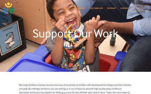 Screenshot of Support Page kenchild.org - Support — Kennedy Children's Center - captured Oct. 15, 2018