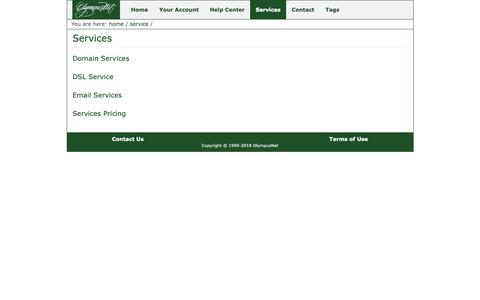 Screenshot of Services Page olympus.net - Services - OlympusNet - captured Oct. 18, 2018