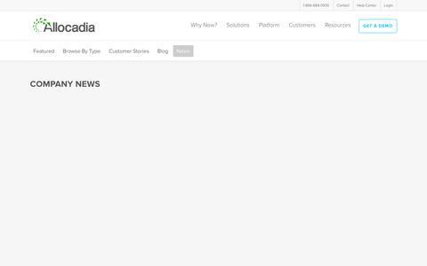 Screenshot of Press Page allocadia.com - Company News Archives | Allocadia - captured May 16, 2019