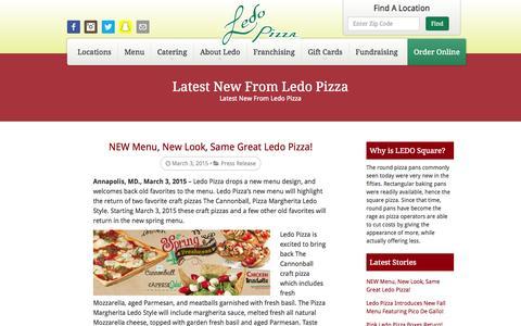Screenshot of Press Page ledopizza.com - Press Room - Ledo Pizza - captured July 21, 2015