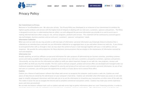 Screenshot of Privacy Page termsheetbattle.com - Privacy PolicyTerm Sheet Battle | Term Sheet Battle - captured Oct. 26, 2014