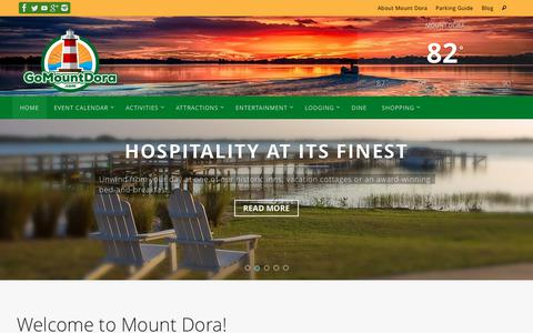 Screenshot of Home Page whattodoinmtdora.com - Go Mount Dora! | Someplace Special to Play, Shop, Dine, Stay... - captured Sept. 23, 2018