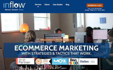 Screenshot of Home Page goinflow.com - Award-Winning eCommerce Marketing Agency | Inflow - captured April 1, 2018