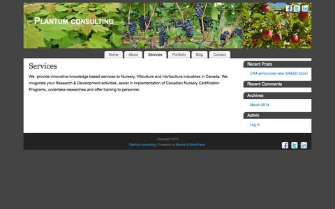 Screenshot of Services Page plantum.ca - Services - Plantum consulting - captured Oct. 3, 2014