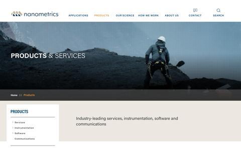 Screenshot of Products Page nanometrics.ca - Products& Services  | Nanometrics - captured Oct. 20, 2018