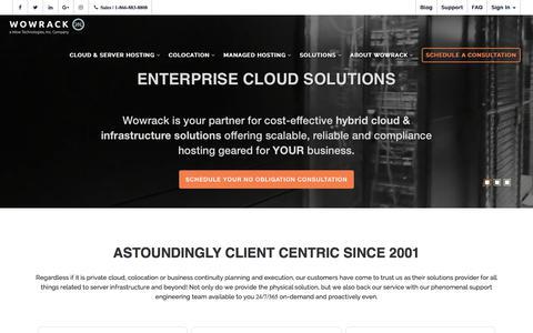 Screenshot of Home Page wowrack.com - Enterprise Managed Server Hosting & Cloud Solutions | Wowrack - captured April 7, 2018