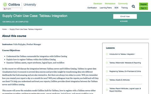 Screenshot of Case Studies Page collibra.com - Supply Chain Use Case: Tableau Integration   Collibra University - captured Feb. 12, 2020