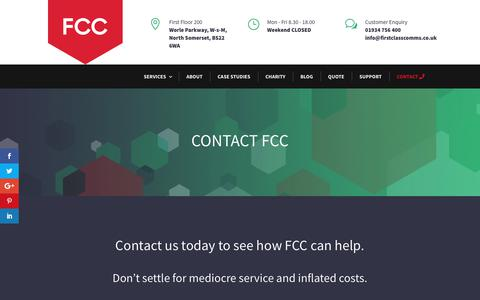Screenshot of Contact Page firstclasscomms.co.uk - Contact - The Telecoms Experts, Network & Broadband, IT Services Specialists - captured Oct. 10, 2018