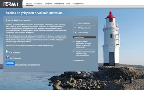 Screenshot of Home Page icmi.fi - Etusivu - ICMI - Intelligent Customer Management International Oy - captured Oct. 3, 2014