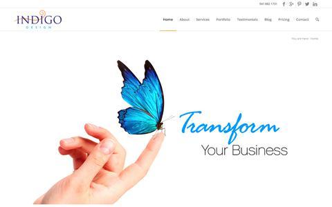 Screenshot of Home Page designbyindigo.com - Graphic Design - Sarasota Design Studio - - captured June 28, 2017