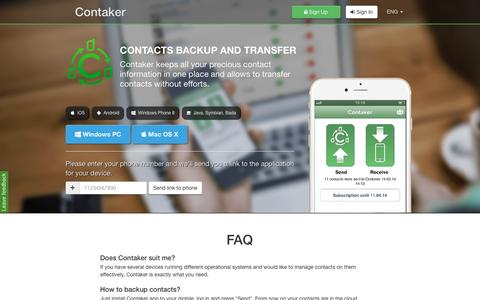 Screenshot of FAQ Page contaker.com - Transfer and copy contacts / Contaker - captured May 29, 2016
