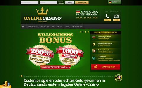 Screenshot of Home Page onlinecasino.de - onlinecasino.de - Deutschlands legales Online Casino - captured Jan. 22, 2015
