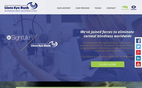 Screenshot of Home Page paeyebank.org - Home - Northeast Pennsylvania Lions Eye Bank - captured Feb. 15, 2016