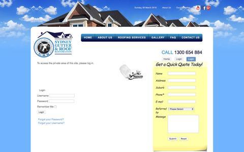 Screenshot of Login Page sydneygrr.com.au - LoginSydneyGRR - captured March 6, 2016