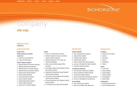 Screenshot of Site Map Page biohorizons.com - site map | BioHorizons - captured Nov. 4, 2018