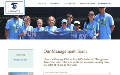 Screenshot of Team Page countrycluboflandfall.com - Country Club of Landfall | Management Team | North Carolina - captured May 22, 2017