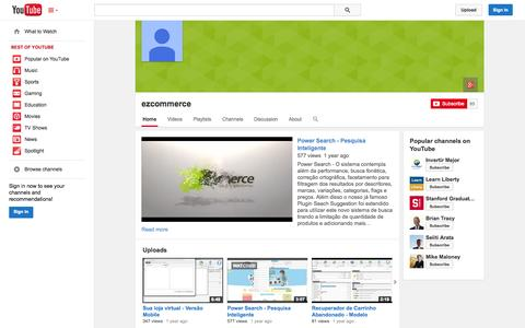 Screenshot of YouTube Page youtube.com - ezcommerce  - YouTube - captured Oct. 22, 2014