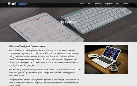 Screenshot of Services Page htmlstudio.co.uk - Website Design Leicestershire Custom | Software Development - captured Dec. 8, 2018