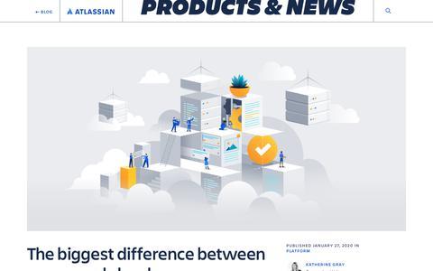 Screenshot of Blog atlassian.com - Server vs cloud - Work Life by Atlassian - captured Feb. 8, 2020