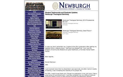 Screenshot of Testimonials Page newburghseminary.com - Newburgh Seminary, Testimonials - captured July 8, 2018