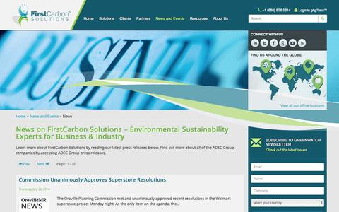 Screenshot of Press Page firstcarbonsolutions.com - Environmental Sustainability for Business & Industry - captured Oct. 10, 2014