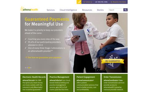 Screenshot of Home Page athenahealth.com - EHR, Practice Management and Medical Billing Services | athenahealth - captured Sept. 13, 2014