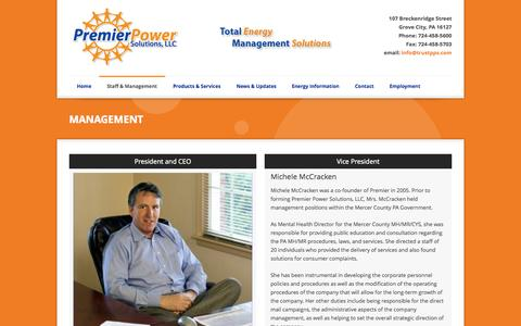 Screenshot of Team Page premierpowersolutions.com - Management | Premier Power Solutions - one of the largest energy buying groups - captured Oct. 3, 2014
