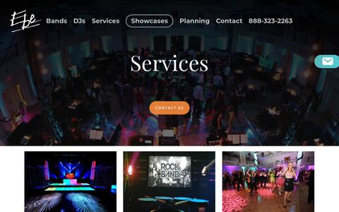 Screenshot of Services Page ebetalent.com - Philadelphia Wedding Services Experts | Five Star Wedding Entertainment  | EBE Talent - captured Sept. 25, 2018