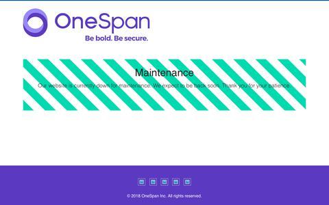 Screenshot of Products Page vasco.com - Maintenance - VASCO Data Security - captured Aug. 17, 2019