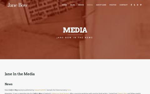 Screenshot of Press Page janebow.com - Jane Bow - Media - captured Jan. 9, 2016