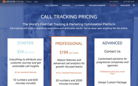Screenshot of Pricing Page convirza.com - Call Tracking: Track Calls with Real-time Reporting Only At $29 - captured Feb. 20, 2018