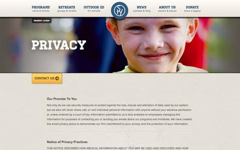 Screenshot of Privacy Page skyranch.org - Privacy | Sky Ranch | North America's leader in Christian Camps - captured Sept. 24, 2014