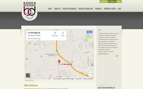 Screenshot of Maps & Directions Page lbdc.com - Directions | Lynchburg Business Development Center - captured Oct. 5, 2014