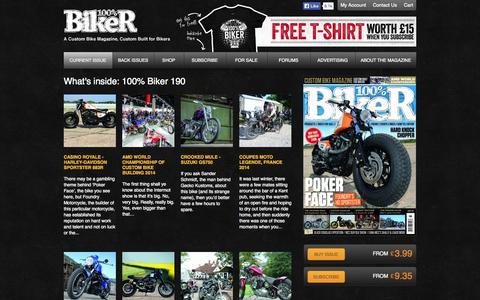 Screenshot of Home Page 100-biker.com - 100% Biker is the UK's best custom bike magazine   100% Biker - captured Jan. 28, 2015