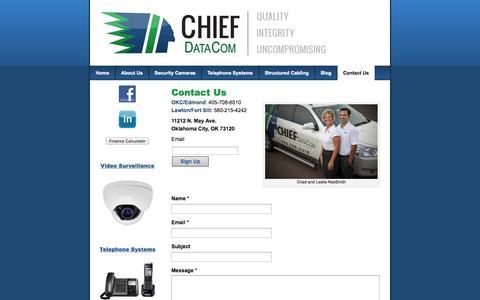 Screenshot of Contact Page chiefdatacom.com - Contact Us | Chief DataCom - captured Sept. 29, 2014